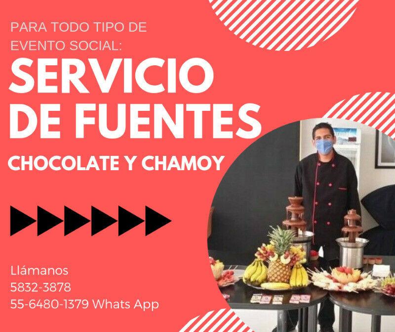 Fuente de chocolate y Chamoy para eventos Sociales CDMX
