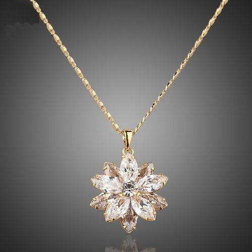 Gargantilla Krasha Elegante Flor De Oro Laminado Cristal Bco