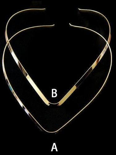 Gargantilla V En Chapa De Oro De 14k Collar 1pz