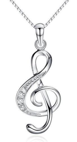 Genial Regalo Collar Clave Sol Música Amor Swarovski
