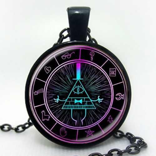 Gravity Falls Collar Y Dije Negro Morado Bill Cipher Diari