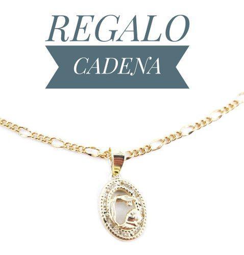 Hermosa Medalla Bautizo Oro 10k Y Cadena