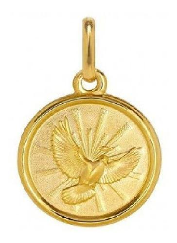 Hermosa Medalla Espíritu Santo Auténtico Oro Macizo 10k
