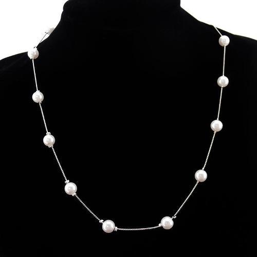 Hermoso Collar Plateado Con Imitacion De Perlas Buen Precio