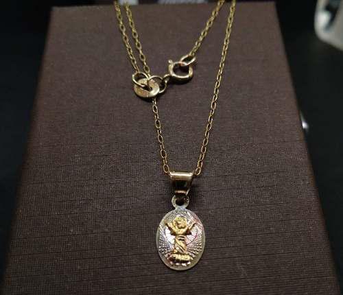 Medalla Bautizo Y Cadena Oro Solido 10k