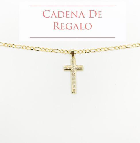 Medalla Cruz Oro Sólido Dije 10k+ Cadena De Regalo, Msi
