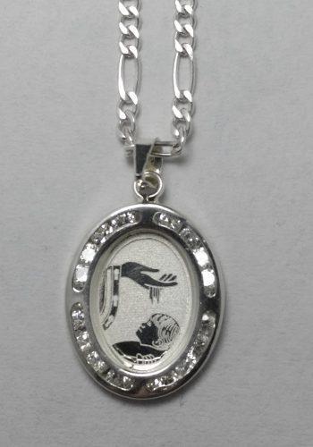 Medalla De Plata Y Cadena De Plata Bautizo Modelo Jv0062