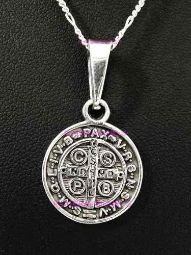 Medalla De San Benito Mediana En Plata Ley 0.925