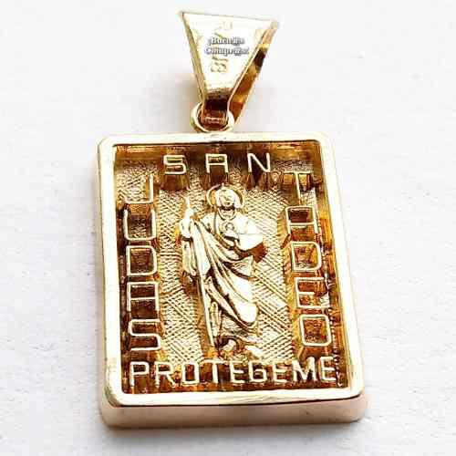 Medalla De San Judas Tadeo Con Chapa De Oro 18 Kilates