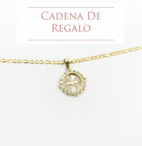 Medalla Espiritu Santo Oro 10k+ Cadena De Regalo