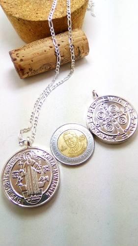 Medalla Grande San Benito En Plata.925 Doble Incluye Cadena