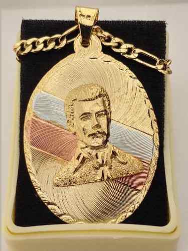 Medalla Jesus Malverde Chapa Oro 3 Colores Cadena Dije