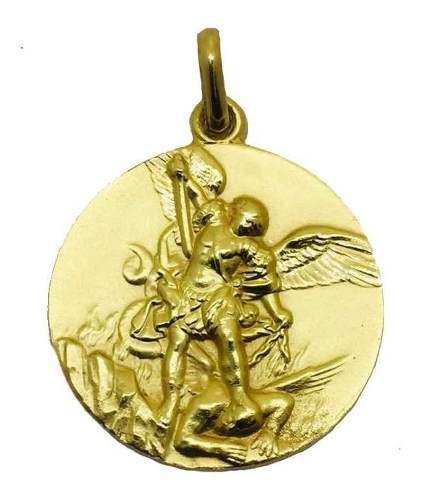 Medalla Oro 14k San Miguel Arcangel #327 Bautizo Comunión
