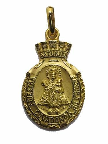 Medalla Oro 14k Virgen De Covadonga #1208 Bautizó Comunión