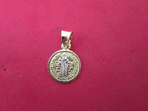 Medalla San Benito Oro Solido 10k Kilates 1.1 Cms. Diametro