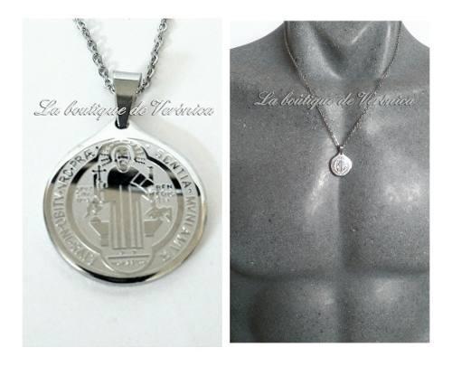 Medalla San Benito Pequeña Acero Inoxidable Cadena