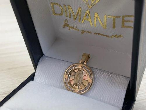 Medalla Virgen 3 Oros Zirconia Oro10k Envio Gratis Calidad