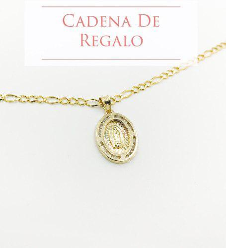 Medalla Virgen De Guadalupe Oro 10k.8gr + Cadena De Regalo