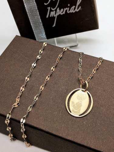 Medalla Y Cadena Oro Sólido 10k Primera Comunión Niño