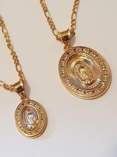 Medallas De Virgen De Guadalupe De Oro Laminado Y Cristales