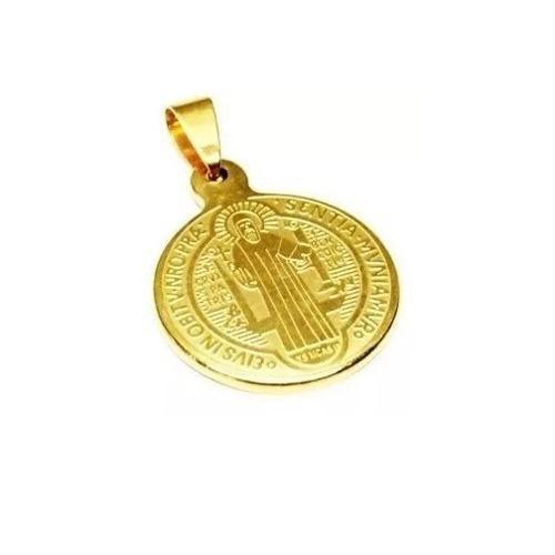 Mini Medalla San Benito Acero Inoxidable Dorado Religion