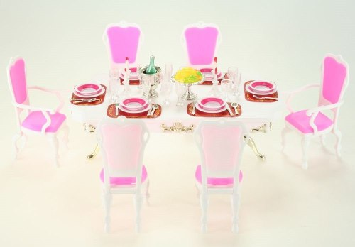 Mueble Para Casa De Muñeca Barbie Comedor Blanco  Full
