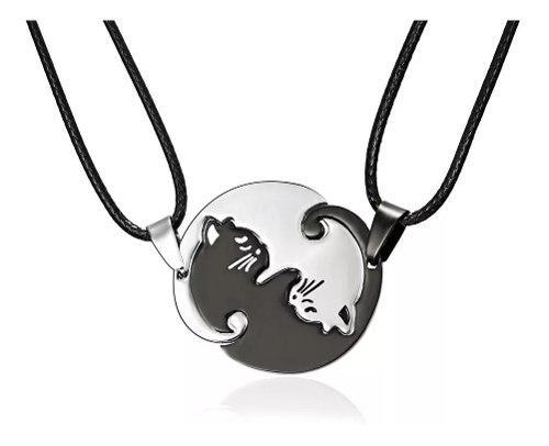Par Collar Yin Yang Acero Titanio Gato Pareja Con Envio