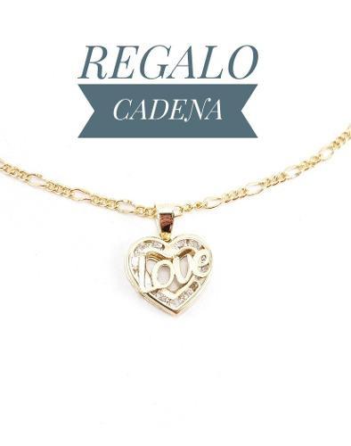 Preciosa Medalla Love Oro 10k Y Cadena Elegante Dije