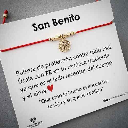 Pulsera Hilo Rojo Medalla San Benito Proteccion