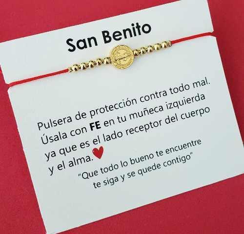 Pulsera Medalla San Benito Hilo Rojo Chapa De Oro