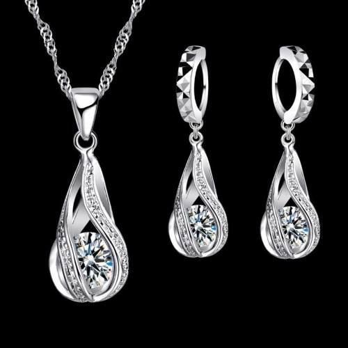 Set Collar Y Aretes Plata.925 Mujer Zirconias Regalo Novia