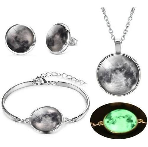 Set Completo Luna Brilla En Oscuridad Collar Pulsera Aretes