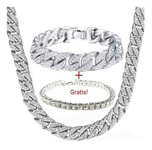 Set Hip Hop Cadena Esclava Diamantada Iced Out Plata Laminad