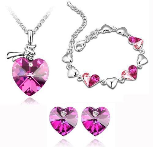 Swarovski Cristales Cadena Dije Aretes Rosa Oro 18kgp