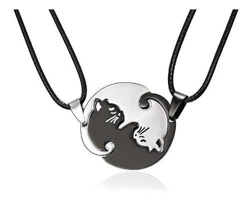 Yin Yang Gatos Amor Pareja Collar Acero Inoxidable