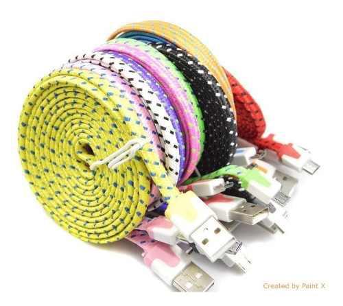 Cable Micro Usb V8 Tela Agujeta Plano 3 Metros Solo Carga