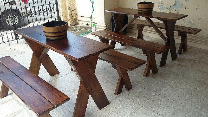 Renta de mesas de madera rústicas vintage estilo pic nic en