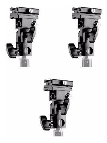 Kit 3 Brackets Soportes Para Flash Y Para Sombrilla