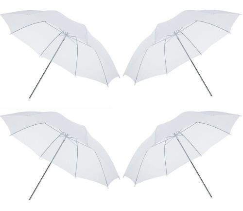 Kit 4 Sombrillas Blancas Para Estudio De Fotografía 83cm
