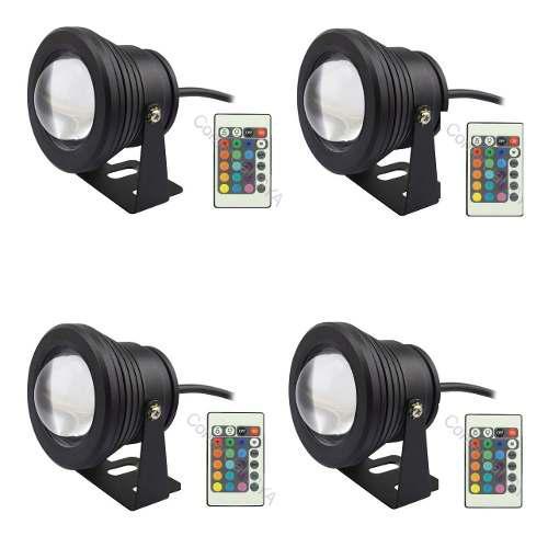 Reflector Led 10w Sumergible Rgb Para Acuario, Con Control