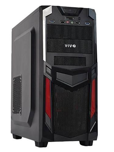 Vivo Atx Mid Tower Gaming Computer Caja De La Pc / Negro Roj
