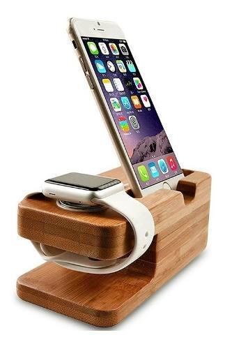 Base Dock Estación De Carga Para iPhone Apple Watch Bambú