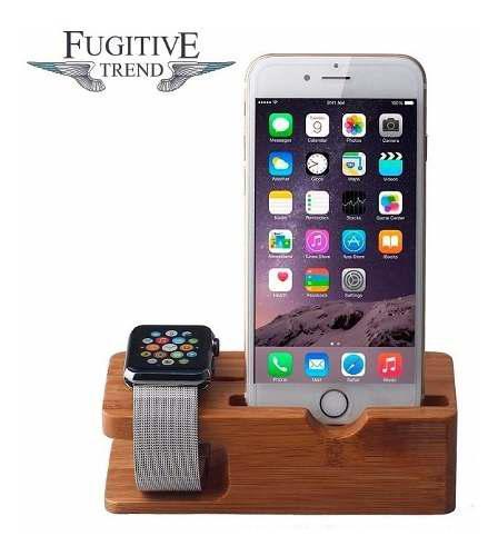 Base Dock Estacion De Carga De Bambu Para iPhone Apple Watch