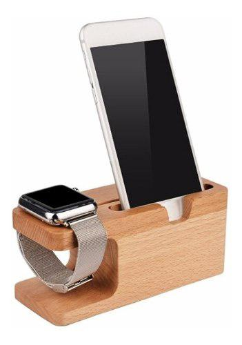 Base Dock Madera Bambu Celular iPhone Apple Watch Android