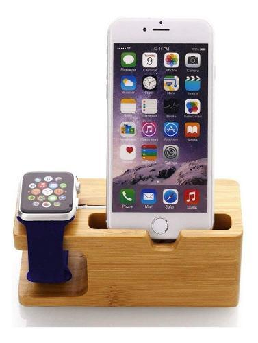 Base Soporte Carga Bamboo Apple Watch iPhone Stand 2 En 1
