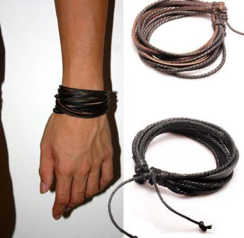 Brazalete Pulsera Cuero Cuerda Hombre Mujer Unisex 2x1