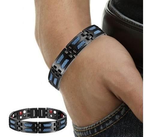 Brazalete Pulsera Titanio Titanium Azul Diseño Magnética