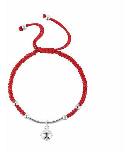 Campana De Plata Shambala Pulsera Roja De La Suerte Tibetana