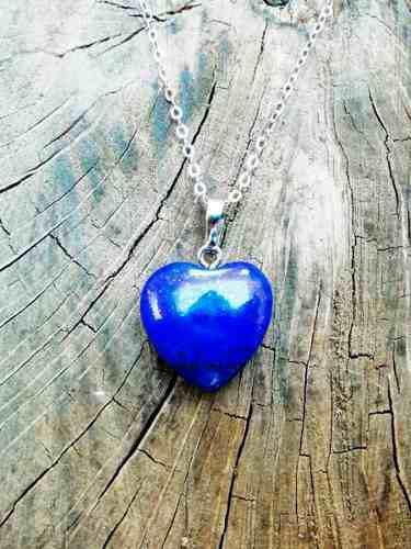 Collar Corazon Lapislazuli Cuarzo Piedra Chakras Yoga Love