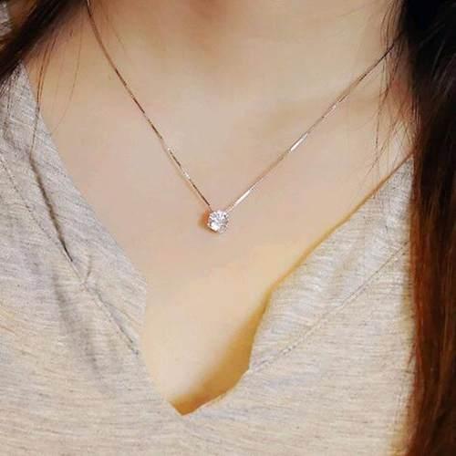Collar De Plata Laminada Con Cristal De Zirconia